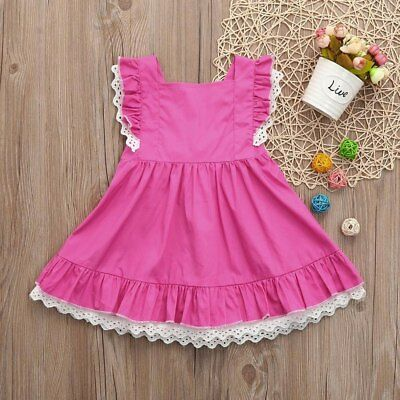 NEW Girls Pink Lace Long Sleeve Collar Dress 18 M 2T 3T 4T Easter