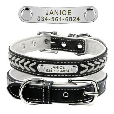 Collar de piel para perro grande suave Personalizable Collar grabado para perro 4