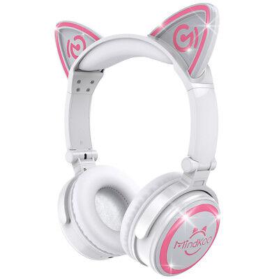 Foldable Bluetooth Cat Ear Headset LED Light Headphones Earphone Valentines Gift