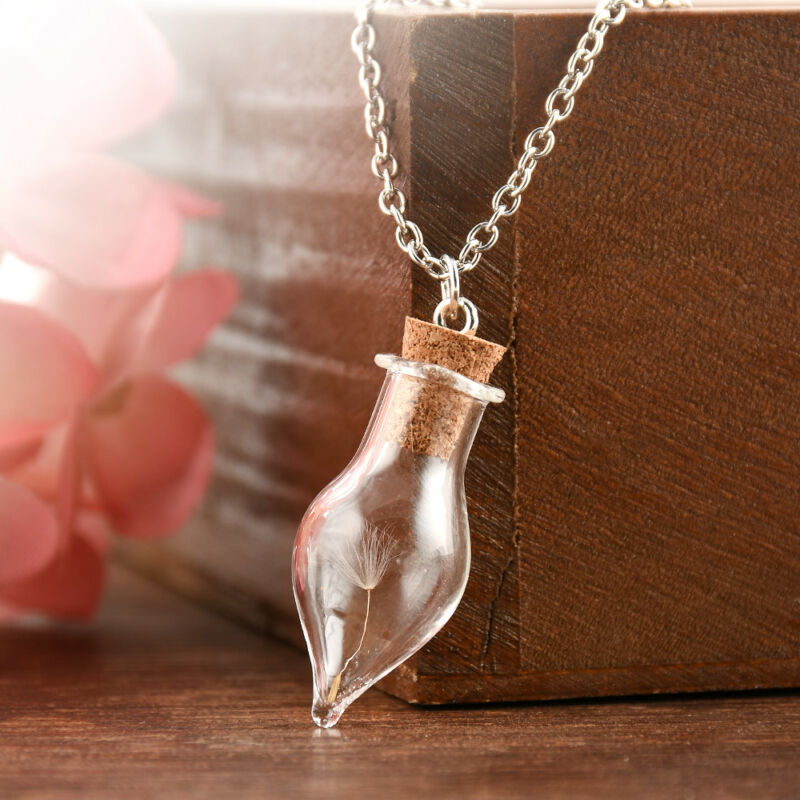 Wish Glass Real Dandelion Seeds In Glass Wish Bottle Chain Necklace Pendant 6