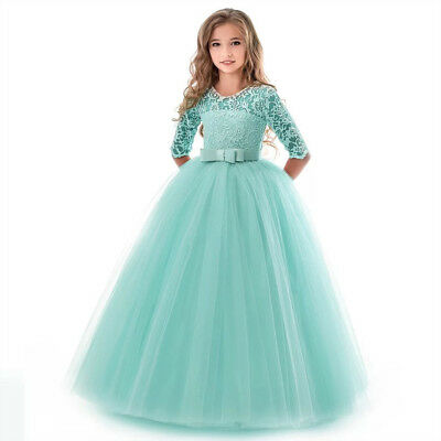 Flower Girl Dress Princess Party Wedding Bridesmaid Kid Formal Gown Long Dresses 12