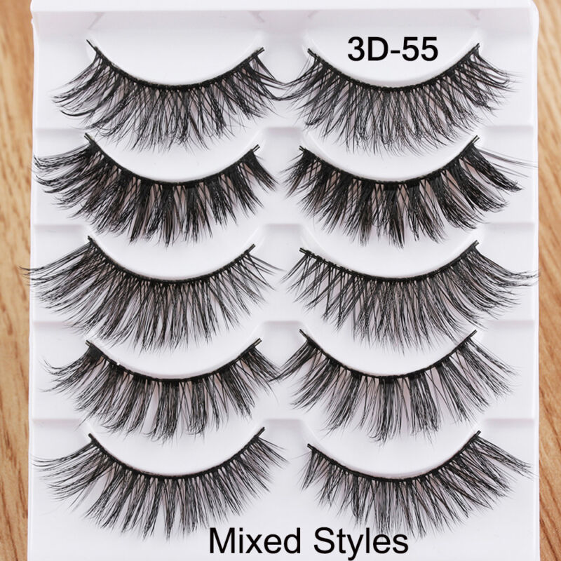 5Pairs 3D Faux Mink Hair False Eyelashes Extension Wispy Fluffy Think Lashes. 6