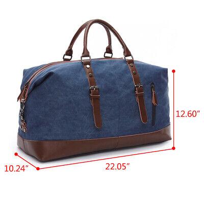 Vintage Men's Canvas Leather Travel Duffle Bag Shoulder Weekend Luggage Gym Tote 12