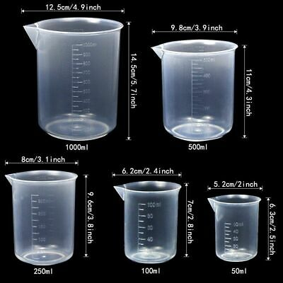 Lab Plasticware Set,4 Clear Plastic Graduated Cylinders with 5 Beakers +1 Brush 2