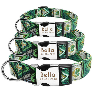Personalised Dog Collar Heavy Duty Buckle Custom Name ID Free Engraved & D-ring 8
