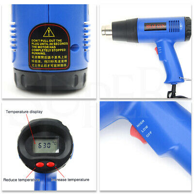 220V 1800W Electric Heat Gun LCD Digital Temperature Hot Air Heating Tool Set 3