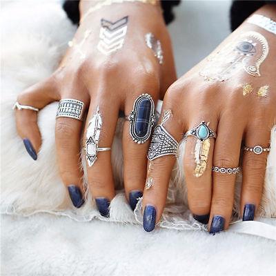 Retro 12Pcs/ Set Silver Gold Boho Arrow Moon Flower Midi Finger Knuckle Rings 11