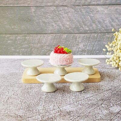5x Cake Stand Display Bakery Dollhouse Miniatures White Ceramic Supply Barbie 11