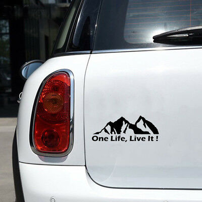 Off Road Mountain Silhouette Car Sticker Window Vinyl Decals ONE LIFE LIVE IT
