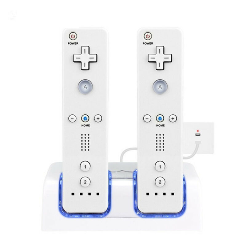 2 Batteries + Charger Charging Dock Station For Nintendo WII Remote Controller ^ 4