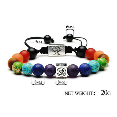 7 Chakra Yoga Natural Stone Beaded Cubic Tree Of Life&3D Charm Braided Bracelet 12