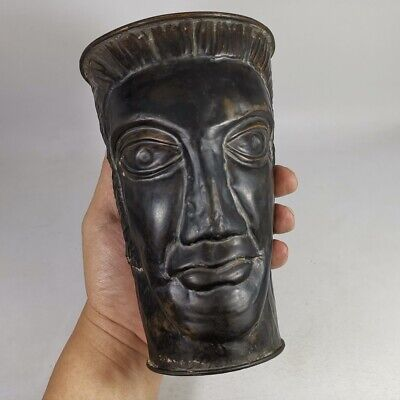 Antique Greek Roman Head Carved Bronze Mug Goblet Cup Jug Pitcher Unique #469 6