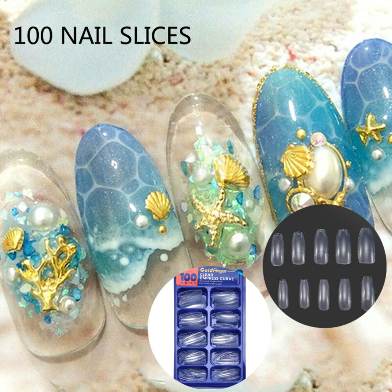 HOT 100Pcs Professional Fake Nails Long Ballerina Half French Acrylic Nail Tips 4