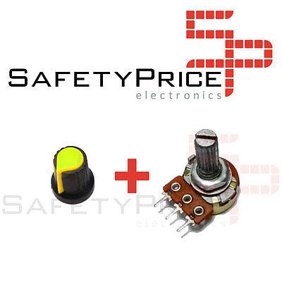 3x Potenciometro B100K lineal 100k + 3x Embellecedor boton Arduino knob 16mm 2