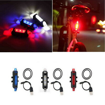 5 LEDs USB Rechargeable Bike Tail Light Bicycle Safety Cycling Warning Rear Lamp 3