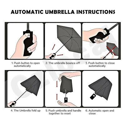 Automatic Umbrella Auto Open Close Compact Folding Anti UV Rain Windproof 10Ribs 6