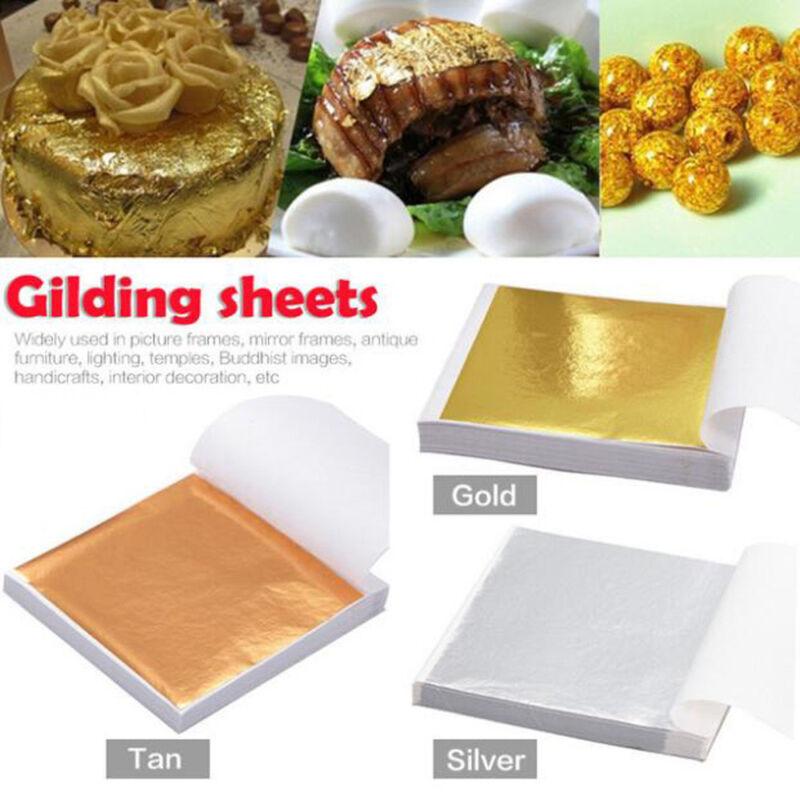 100X Art Craft Paper Imitation Gold Sliver Copper Leaf Leaves Sheets Foil Paper 4
