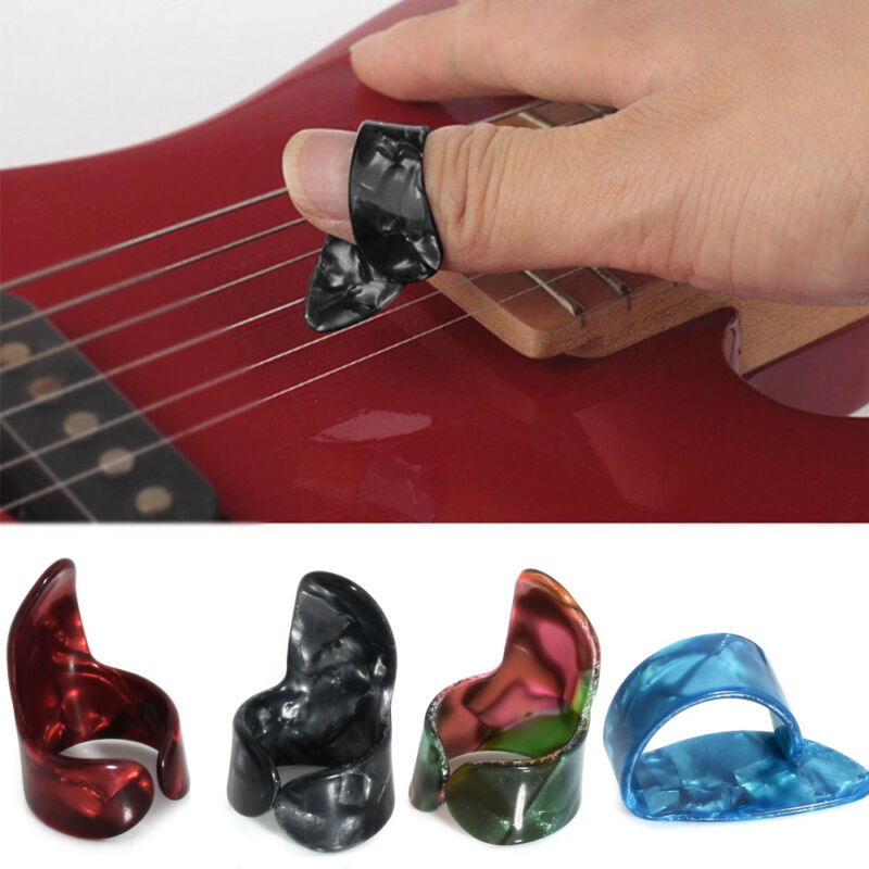 1 Thumb Pick + 3 Finger Picks Set Plastic Nail Picks Plectrums for Guitar Random 2