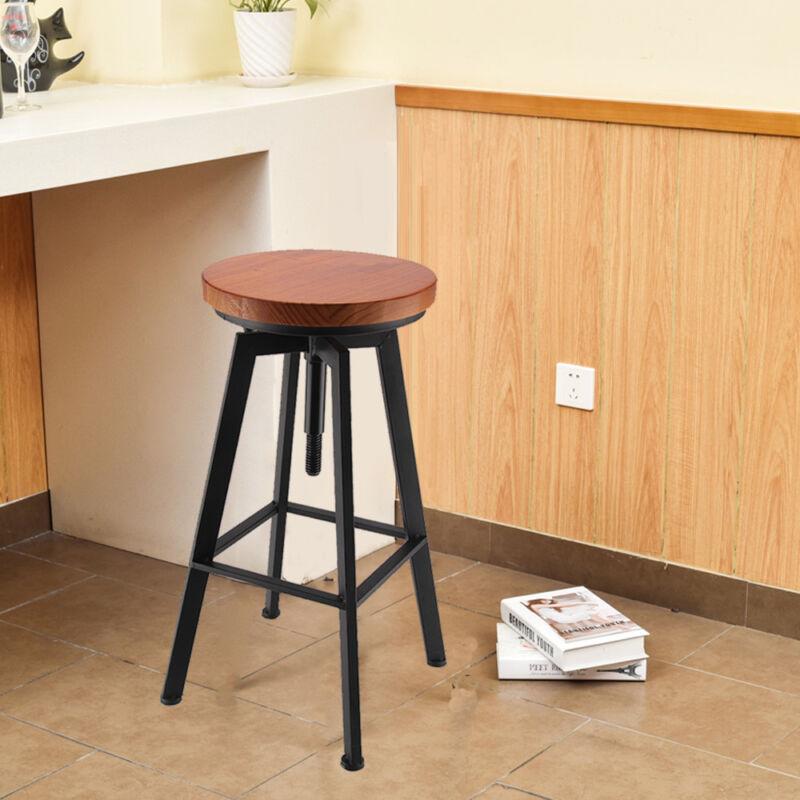 Vintage Bar Stool Metal Wooden Industrial Retro Seat Kitchen Pub Counter 3