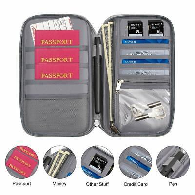 Family Passport Holder Travel Wallet Ticket Document Organiser Bag Multi-purpose 2