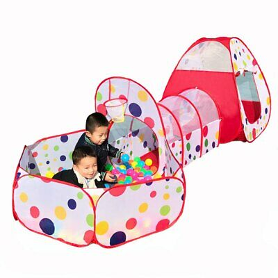 Portable 3 in 1 Childrens Kids Baby Play Tent Tunnel Ball Pit Playhouse Pop Up 2