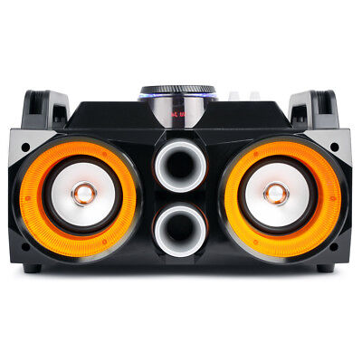Battery Powered Portable Stereo Ghetto Speaker with Bluetooth USB & Lights 100w 2