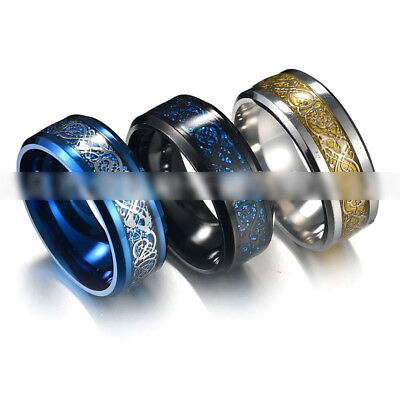 Punk Men Women Dragon Design Rings Jewelry Stainless Steel Band Size 7-11 New 8