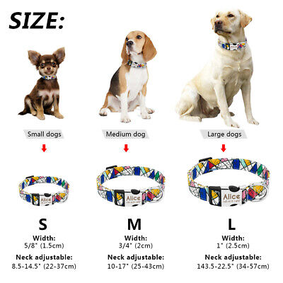 Nylon Personalized Dog Collar Small Large Engraved Buckle Custom ID Name Tag SML 2