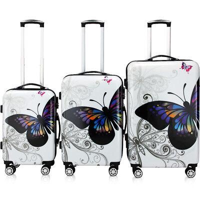 Monzana® Hartschalenkoffer Butterfly Trolley Reisekoffer Koffer M L XL 4 Rollen 11
