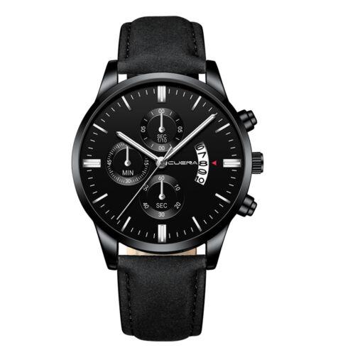 Fashion Sport Men's Stainless Steel Case Leather Band Quartz Analog Wrist Watch 4