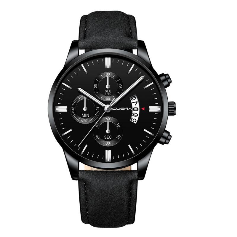 Fashion Sport Men's Stainless Steel Case Leather Band Quartz Analog Wrist Watch 2