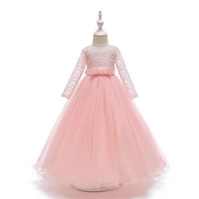 Flower Girl Dress Princess Party Wedding Bridesmaid Kid Formal Gown Long Dresses 8