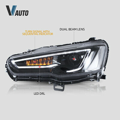 VLAND Fit For Mitsubishi Lancer / EVO X LED HeadlightS Lamp Pair Set Assembly 3