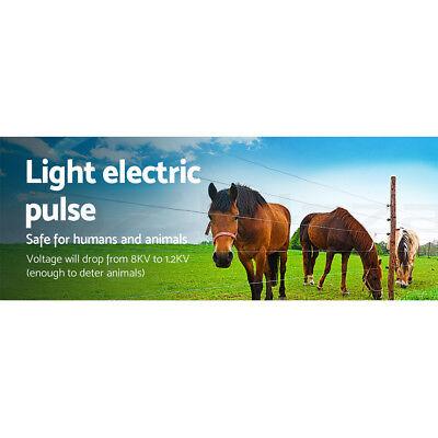 Giantz 3km Solar Electric Fence Energiser Energizer Battery Charger Cattle Horse 7