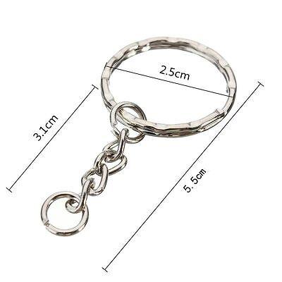200Pc DIY 25mm Polished Silver Keyring Keychain Split Ring Short Chain Key Rings 10