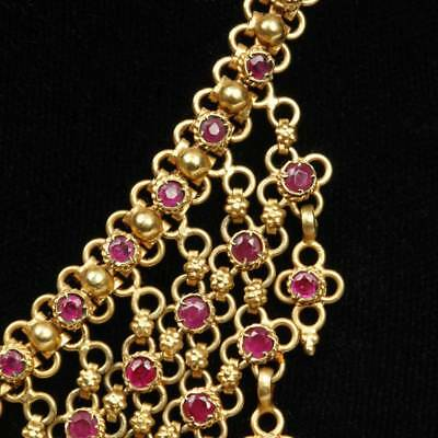 Stunning Gold And 219 Individually Set Rubies Necklace Adjustable India Jewelry 2