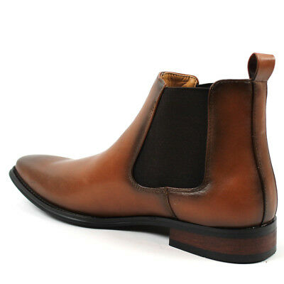4f84a728cb5f ... Men s Ankle Dress Boots Slip On Almond Round Toe Leather Chelsea  Luciano D-510 12