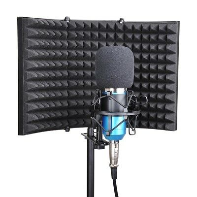 3 Fold Design Microphone Isolation Shield Studio Recording Absorber Foam Panel 6