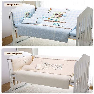 7pcs Baby Crib Bedding set Bumpers Quilt Pillow Cot Sheet Newborn Gift Yellow Ne