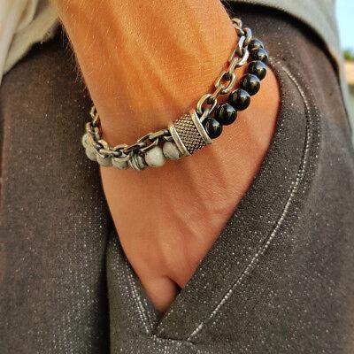 Bracciale catena acciaio uomo con pietra dure in onice nero da braccialetto 2