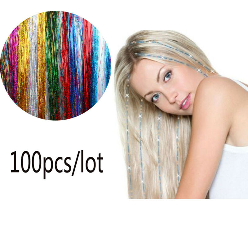 100 Strands Hair Tinsel Bling Silk Hair Flare Strands Glitter Rainbow Hair Decor 3