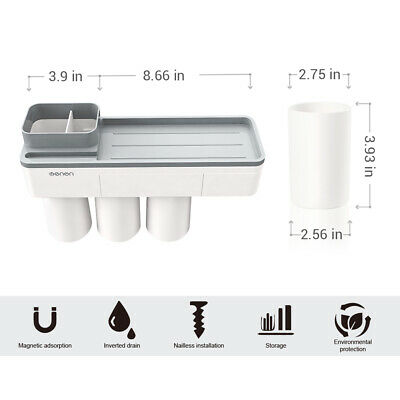 Toothpaste Toothbrush Holder Home Bathroom Wall Mount Stand Storage Rack,3 cups 5