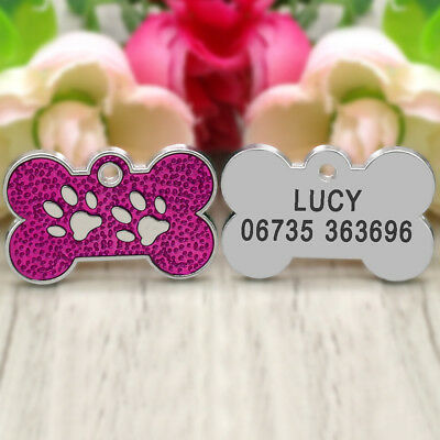Glitter Paw Print Dog Tag Personalized Engraved Cat Pet ID Name Tag Bone Shape 7