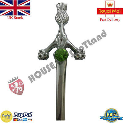 "New Thistle Kilt Pin Irish Green Stone 4""/Scottish Kilt Pins Thistle Hilt/Brooch"