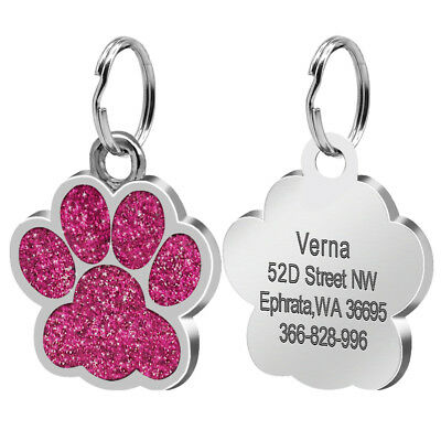 Glitter Paw Print Dog Tag Personalized Engraved Cat Pet ID Name Tag Bone Shape 2