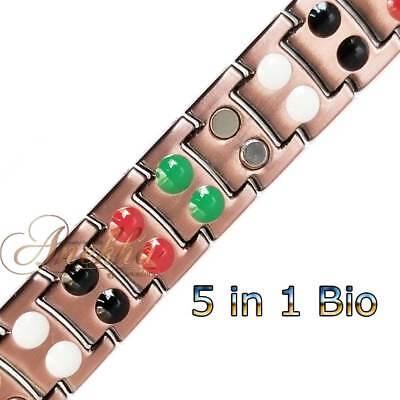 Cu+Bio 5 IN 1 PURE SOLID COPPER MAGNETIC CHAIN BRACELET MEN ARTHRITIS PC01V 2