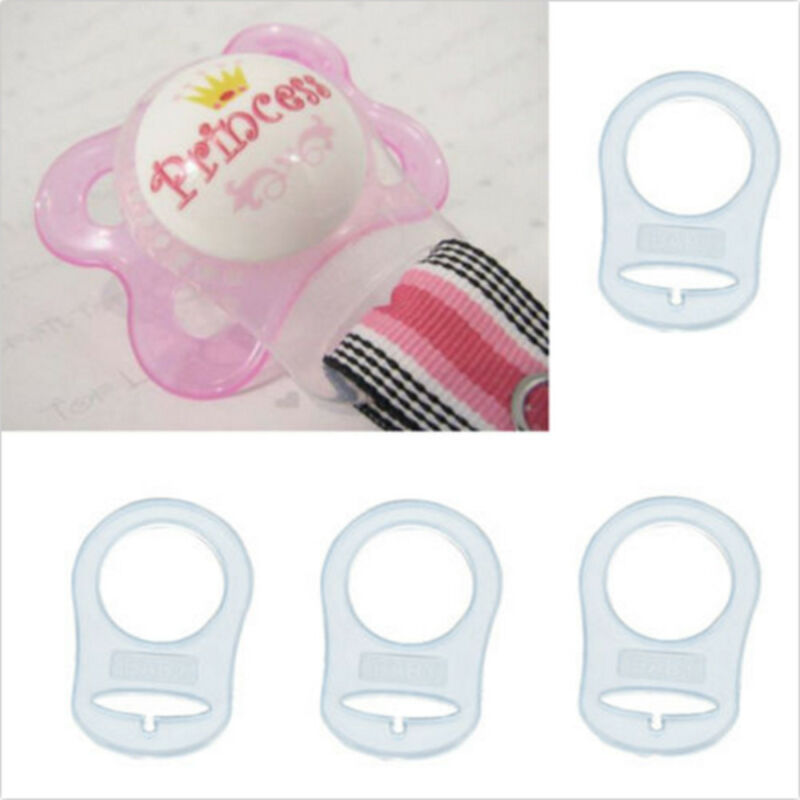 Lot 10 pcs Clear Silicone Button MAM Ring Dummy / Pacifier Holder Clip Adapter