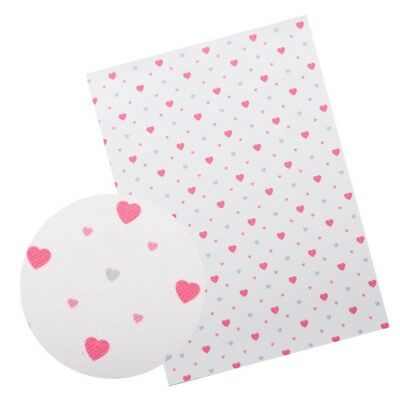 1PCS Love Heart Printed Synthetic Leather Fabric Sheet Valentine/'s DIY Materials