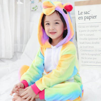 Rainbow Unicorn Kids Kigurumi Animal Cosplay Costume Onesie01 Pajamas Sleepwear 4