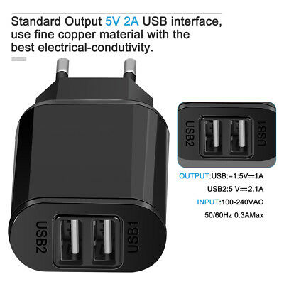 5V 2A EU Dual USB 2-Port Fast Charger Mobile Phone Wall Power Adapter For iPhone 5